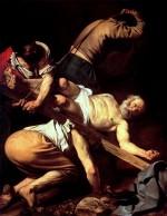 """""""Le Crucifiement de saint Pierre"""" par le Caravage (huile sur toile - 230 x 175 cm ; 1600 - 1601)"""