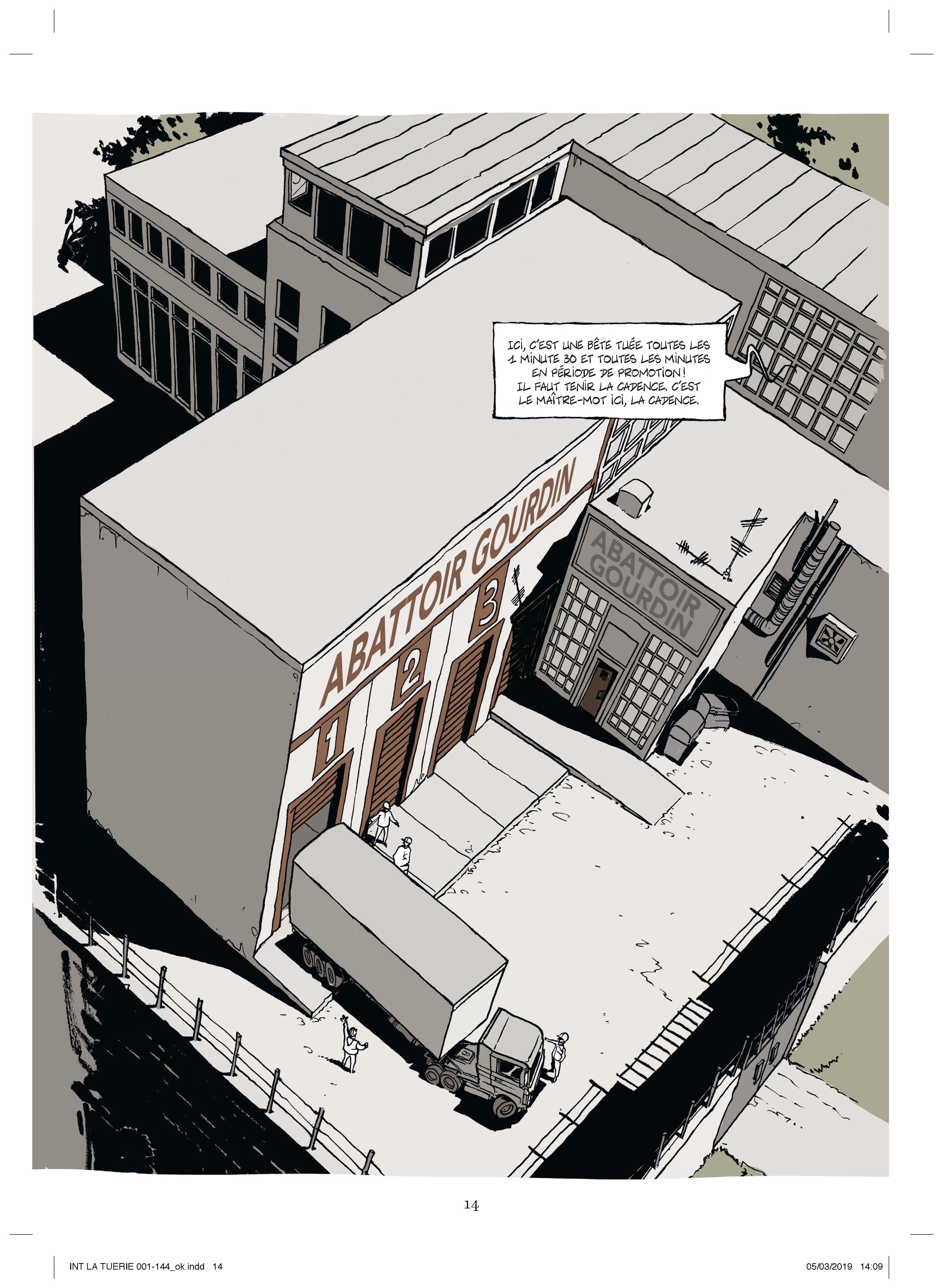 Le lieu des crimes : l'abattoir (planches 6 à 8 - Les Arènes 2019)