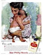 « Fières mamans, veuillez nous excuser si nous aussi nous ressentons la fierté d'être un nouveau parent. Car les nouvelles Philip Morris font le bonheur des fumeurs ».