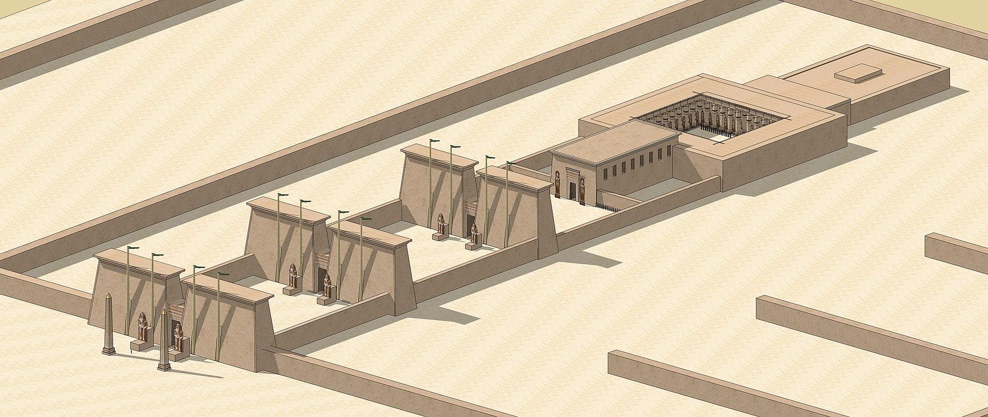 Vue axonométrique du temple d 'Amenhotep III