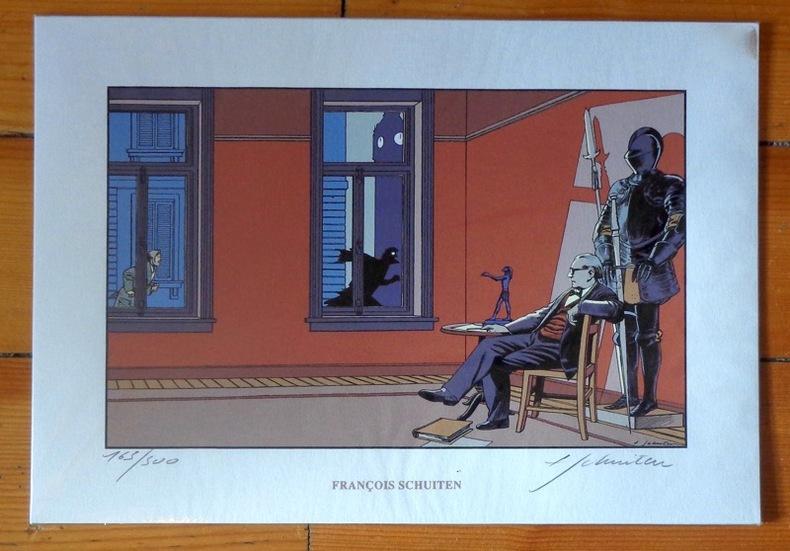 Sérigraphie hommage à Jacobs (Schuiten et Archives internationales, 1993)