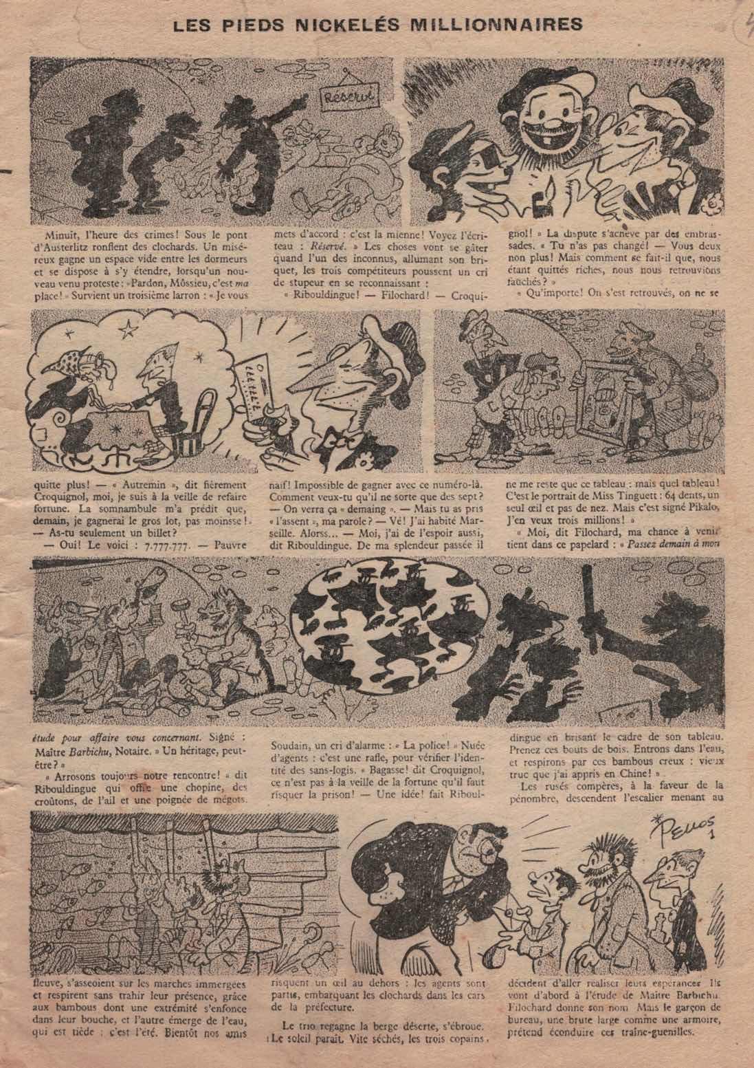 « Les Pieds nickelés » de Pellos dans le n° 1 du Journal des Pieds nickelés, en juillet 1948.