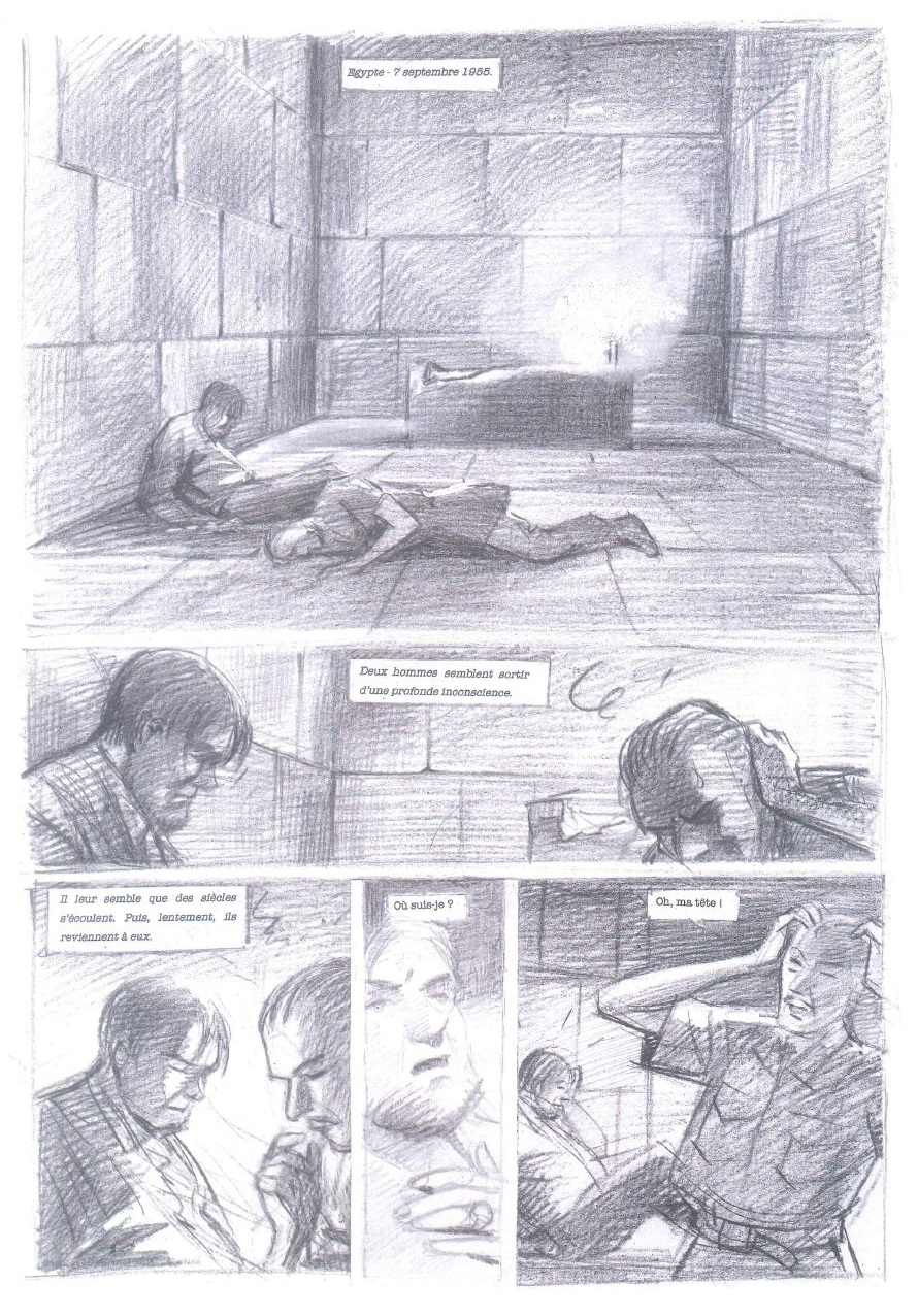 Crayonné de la planche 1 et page finalisée (couleurs par Laurent Durieux)
