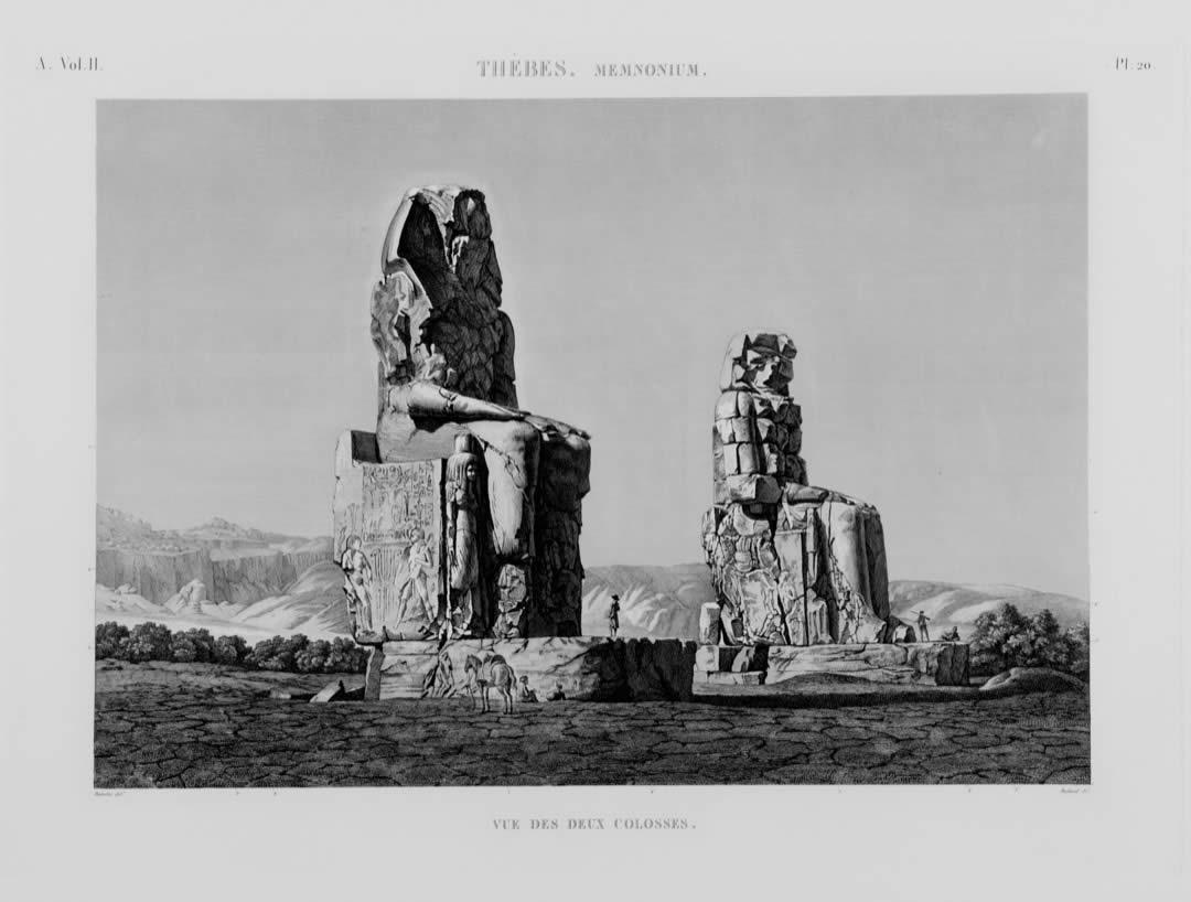 """""""Thèbes. Vue des deux colosses de Memnon"""" par André Tutertre ; plaque de cuivre réalisée sous le 1er Empire pour la réalisation de la """"Description de l'Egypte"""" (1802 - 1809)."""