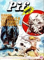 Rahan en couvertures de Pif Gadget (n° 331 et 334 en juillet 1975, n° 357 de janvier 1976 et n° 378 de mai 1976)