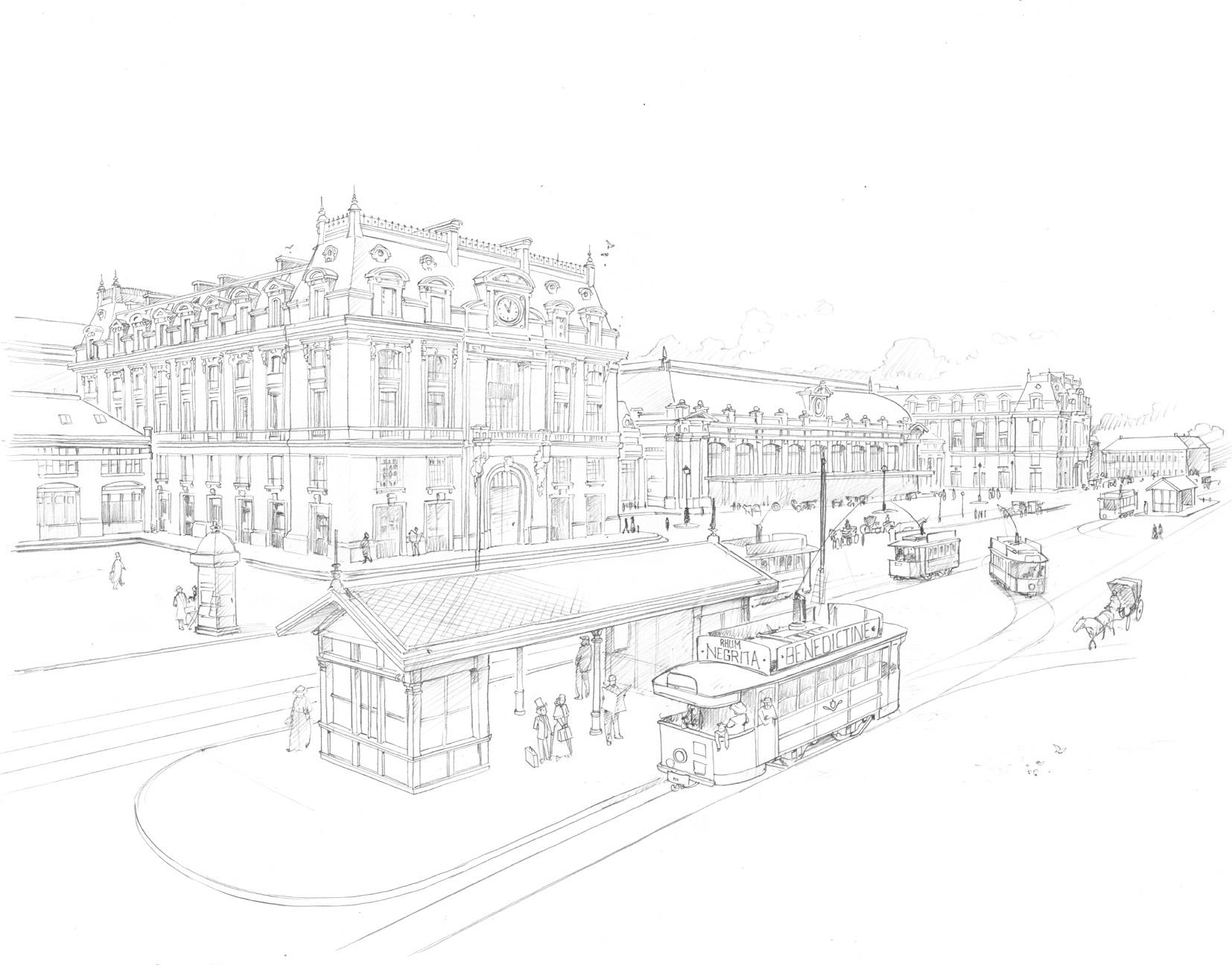 Deux décors typiquement bordelais : la gare Saint-Jean et le Grand Théâtre (Opéra National), sur la place de la Comédie.
