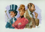 Le trio d'enquêteurs (Hugo Beyle, Flora Vernet et Auguste Dupin), dessiné par J. Lamontagne