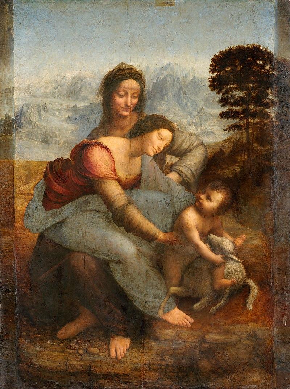 """""""La Vierge, l'Enfant Jésus et sainte Anne"""", huile sur bois (168 x 130 cm), ici dans sa version restaurée"""