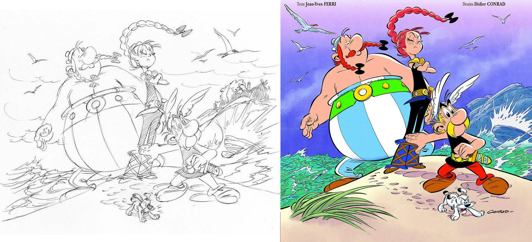 Crayonné de la couverture et visuel définitif (Astérix® - Obélix® - Idéfix® / © 2019 Les Éditions Albert René)