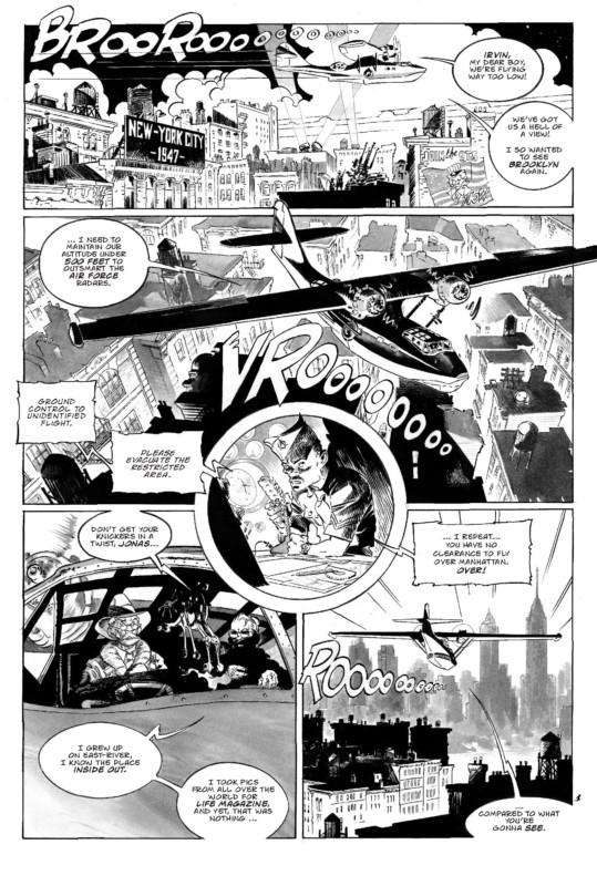 Une inscription dans la veine des comics (première planche en anglais pour le fascicule n° 1 en 2018)
