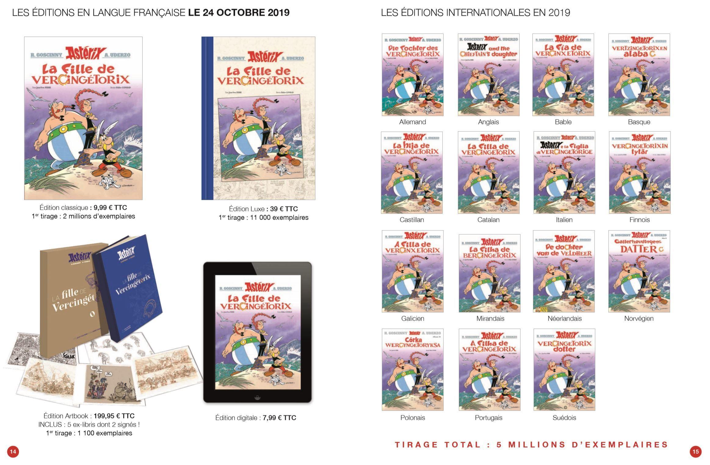 L'ensemble des versions du 38e tome (Astérix® - Obélix® - Idéfix® / © 2019 Les Éditions Albert René)