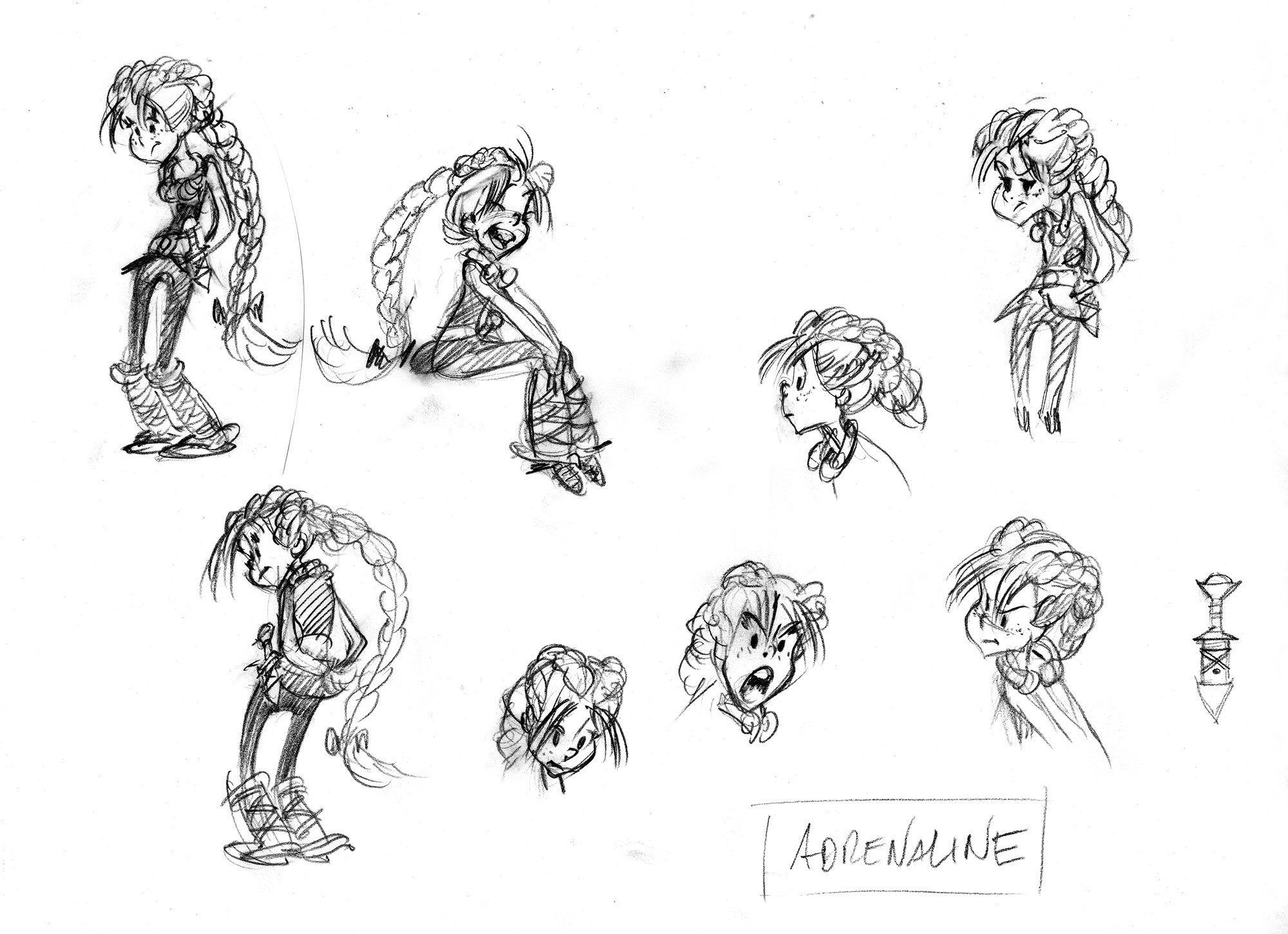 Les crayonnés de la jeune héroïne Adrénaline