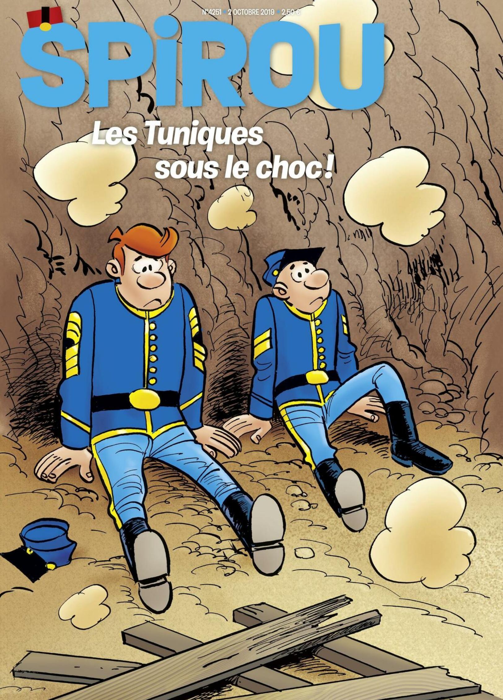 Couverture du journal de Spirou du 2 octobre 2019, annonçant le début de la prépublication.
