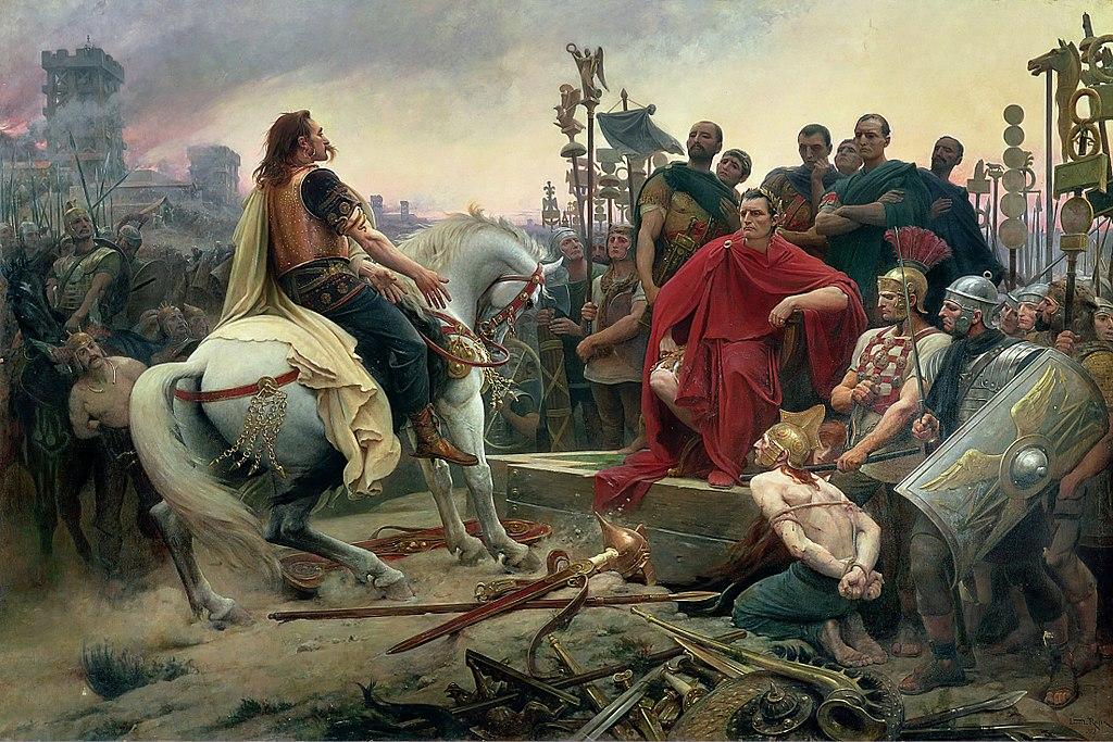 Vercingétorix jette ses armes aux pieds de César, de Lionel Royer (1899, musée Crozatier du Puy-en-Velay).