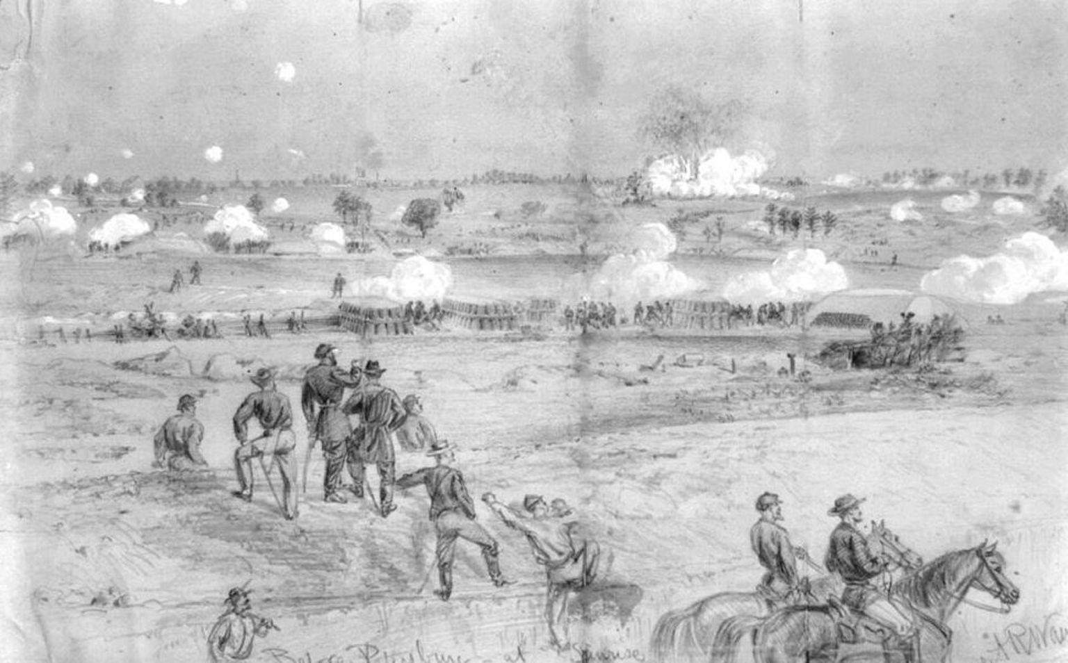Scène de l'explosion du samedi 30 juillet 1864, par Alfred R. Waud.