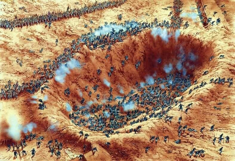 Des soldats piégés... (reconstitution de la bataille)