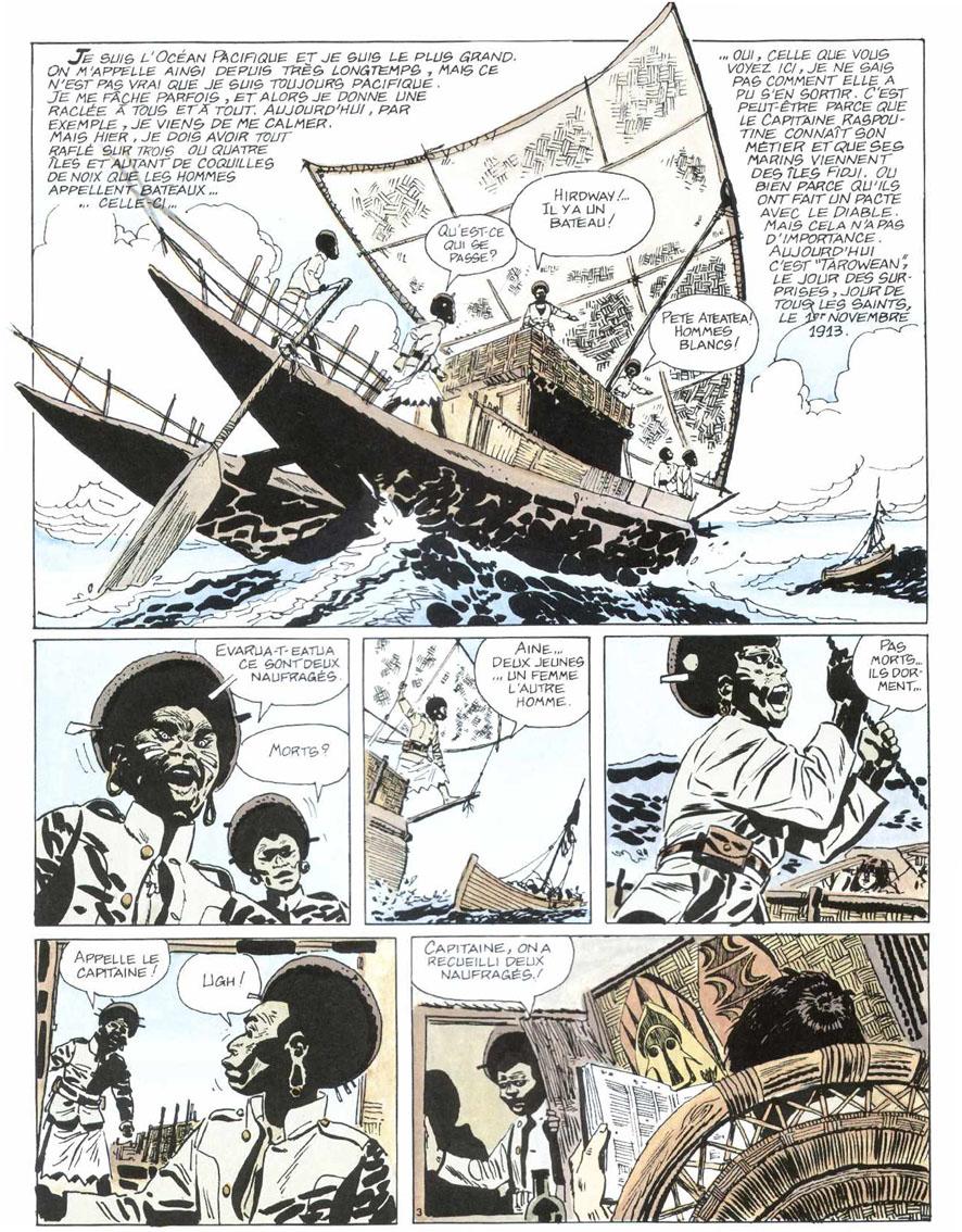 Un récit inaugural... La Ballade de la mer salée : planche 1, couverture et carte (Casterman, 1975)