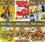 Les couvertures hispaniques des 6 premiers volumes, et la couverture de Paracuellos T2, paru chez Fluide Glacial en 1981.