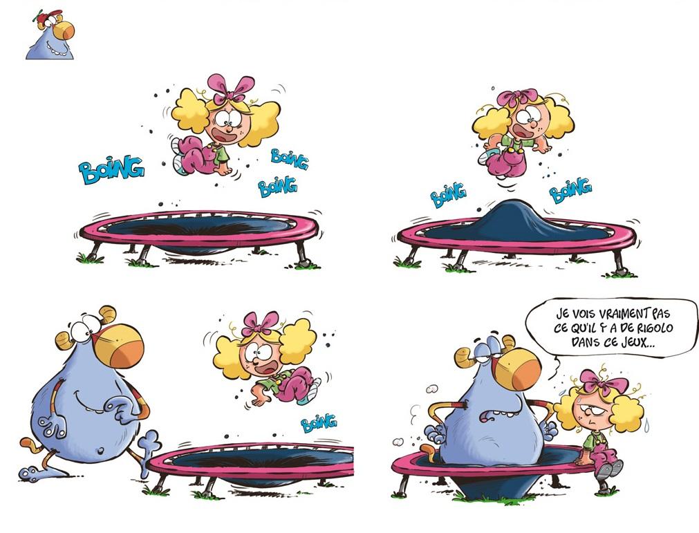 Lily, le doudou monstre et le trampoline
