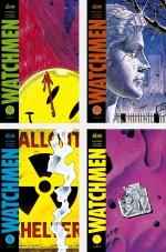 Les quatre premières couvertures de Watchmen en version française. Celles-ci sont strictement identiques aux couvertures des fascicules américains. À noter que le premier volume est vendu sous film avec une jaquette jaune reprenant l'horloge de l'apocalypse que vous pouvez apercevoir en en-tête de cette chronique.