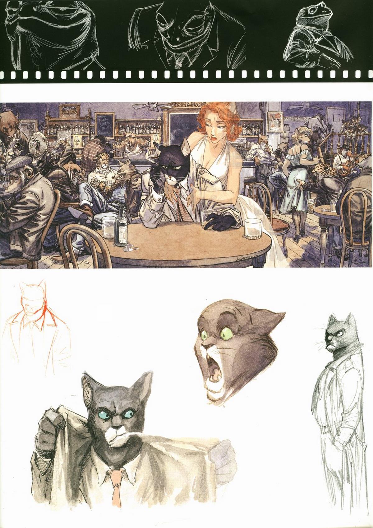 """Recherches de personnages et dessin pour l'offset """"John's Blues"""" (Granit Associés)"""