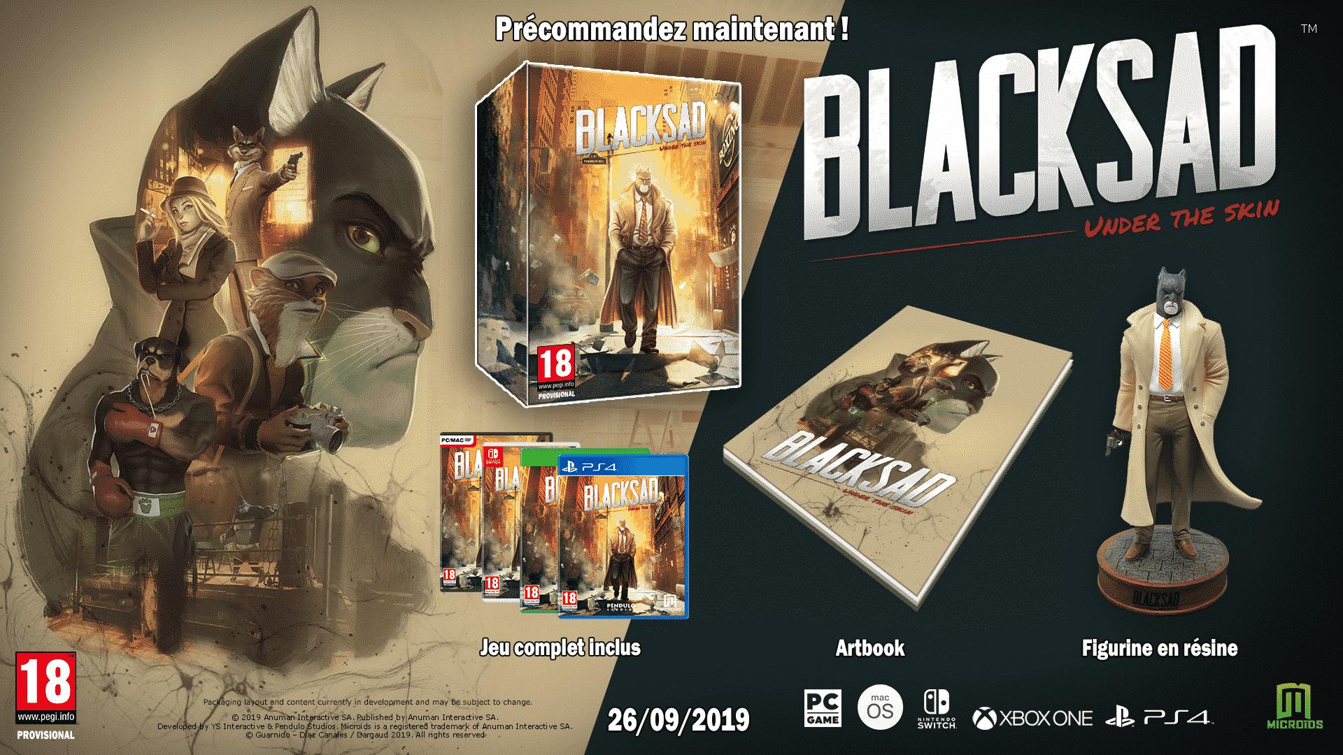 Blacksad en jeu vidéo (Microids et Pendulo Studios - 2019)