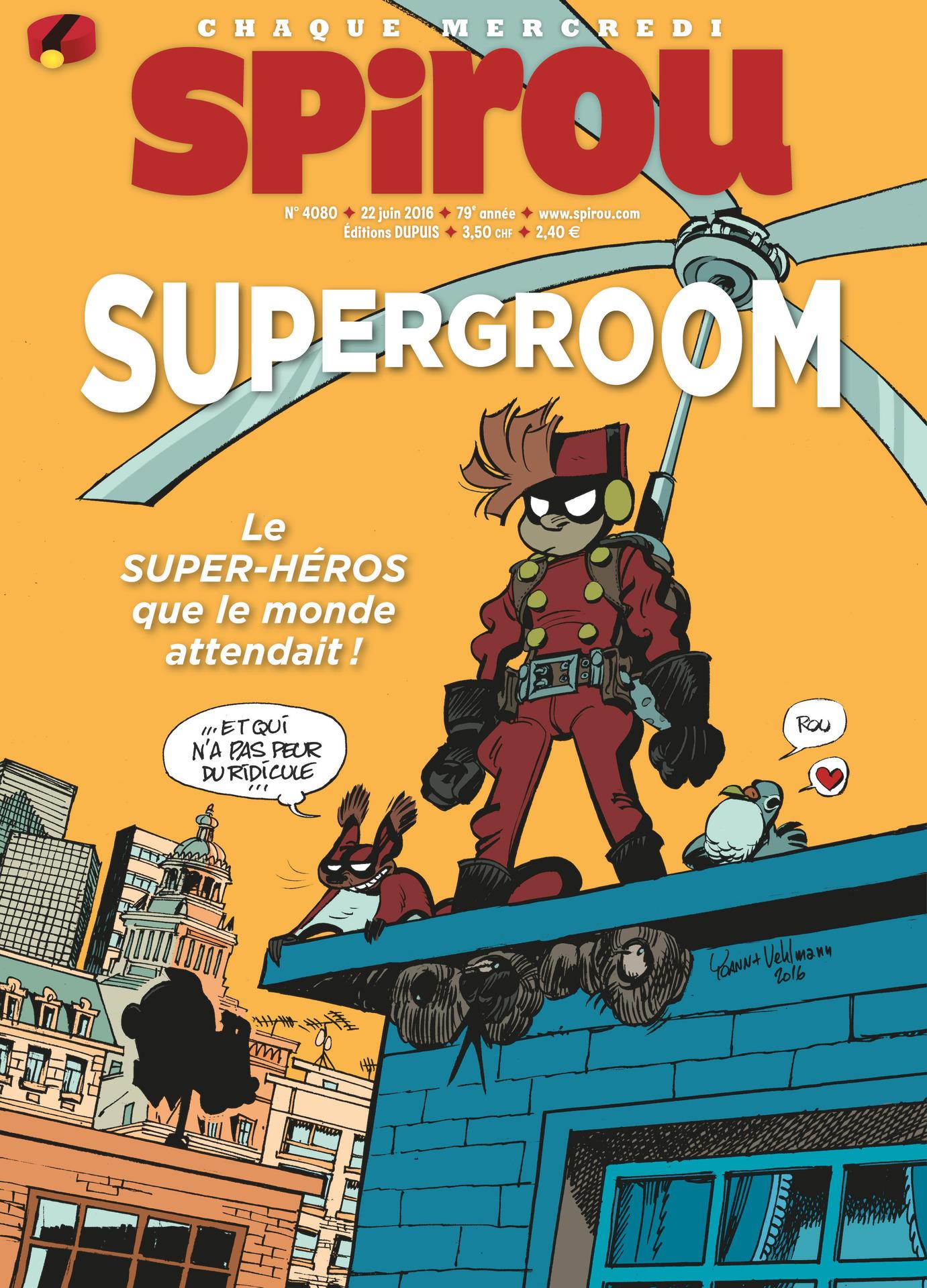 SuperGroom est à la une de Spirou n° 4080 (22 juin 2016)