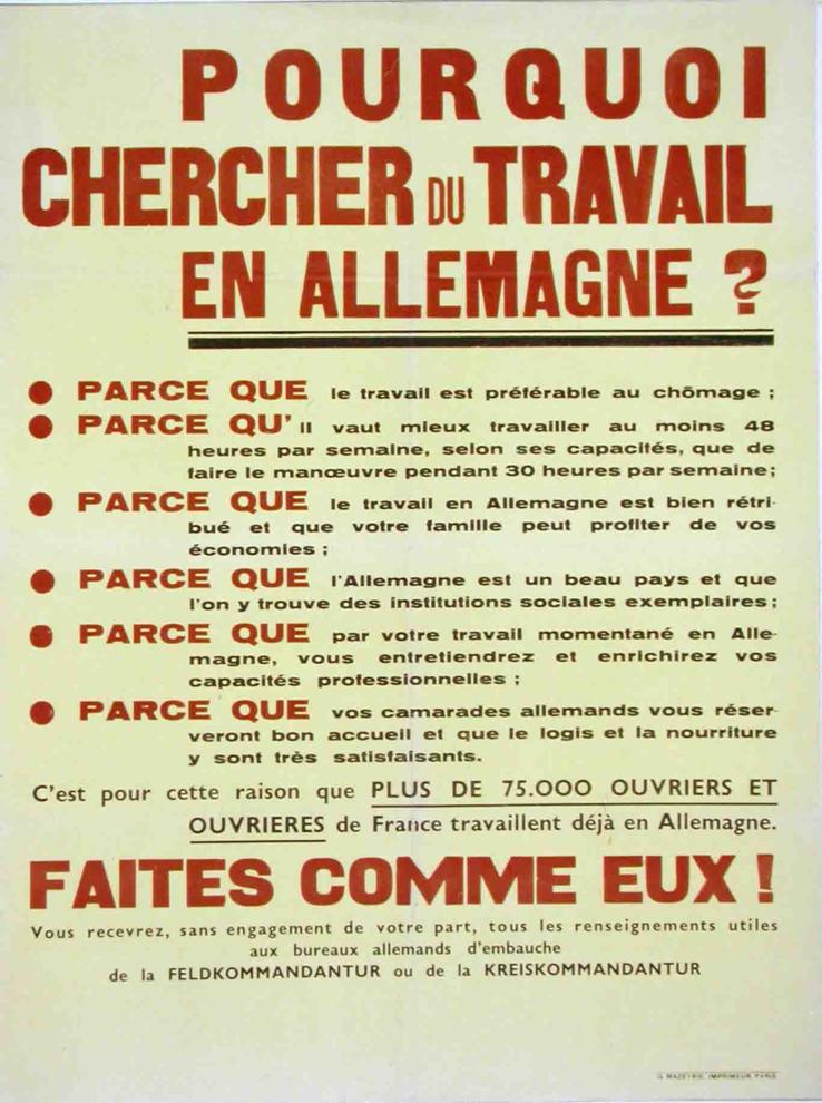 """Affiches de propagande concernant le """"volontariat"""" et le STO"""