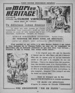 Page annonce d'« Un mari en héritage » dans La Vie en fleur n° 109 du 1er trimestre 1956.