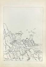 Dessin à l'encre de Chine pour la couverture « grande image » de l'album noir et blanc, publiée en 1942 et qui sera ensuite utilisée de 1943 à 1965 pour l'édition couleur. Dessin vendu  en 2014 chez Artcurial pour 1 011 200 €.