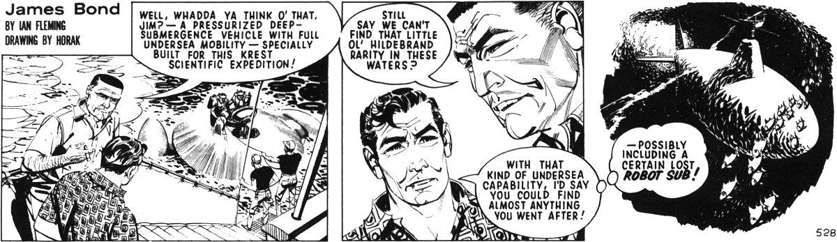 Bond, Krest et un sous-marin dans « The Hildebrand Rarity » en 1967.