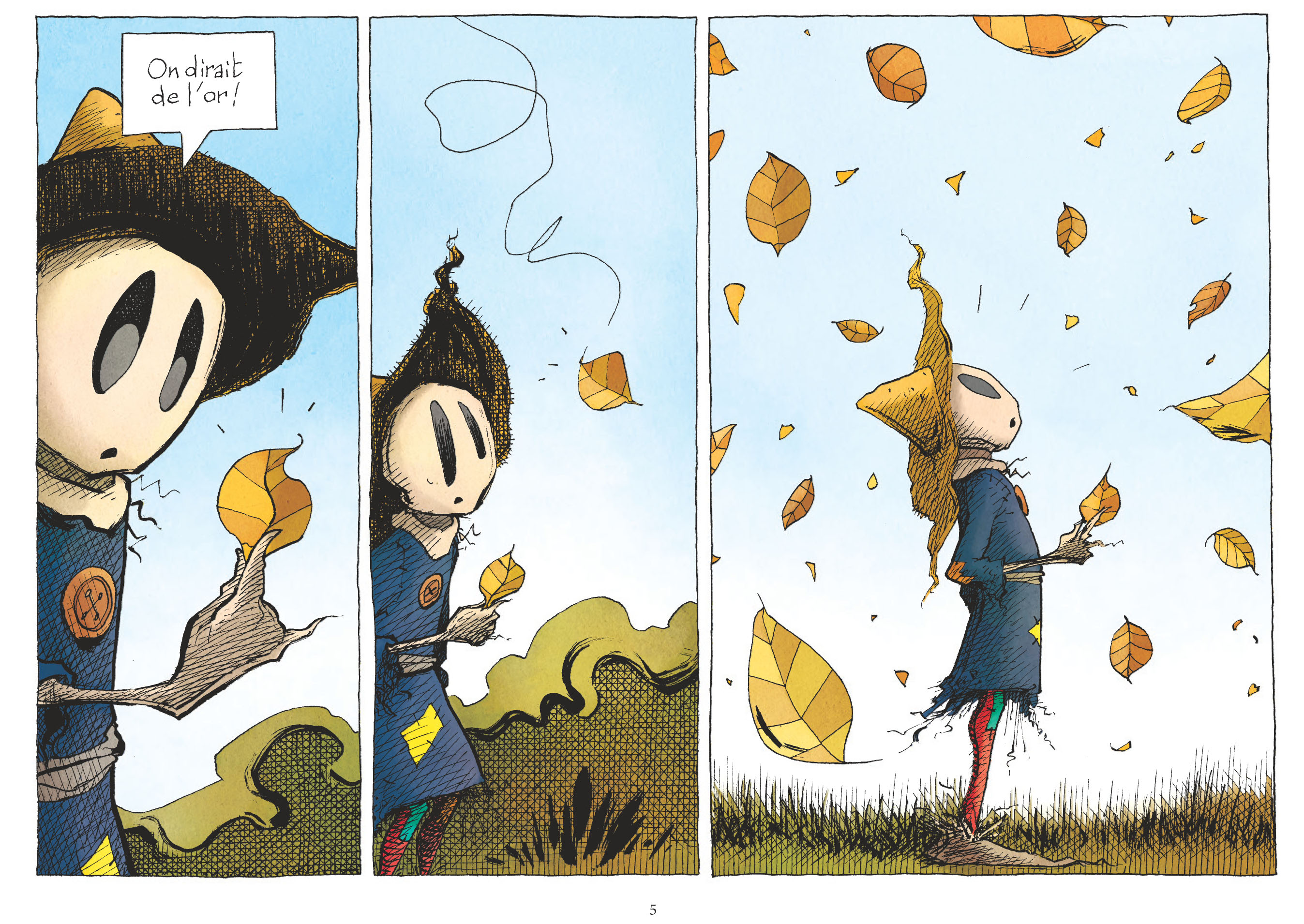 Le début de l'automne surprend l'émouvantail