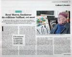 Journal L'Humanité, 18 mai 2020 : « René Moreu, fondateur des éditions Vaillant, est mort ».