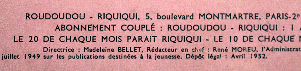 Ours de Roudoudou, en 1952 : directrice Madeleine Bellet, rédacteur en chef René Moreu.