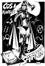 Satanik est le personnage qui, peu après Diabolik, a lancé le genre du fumetti neri en Italie : des héros qui sont en fait de dangereux délinquants. Créée en 1964 par Max Bunker au scénario et Magnus au dessin, la série eut quelques continuateurs, dont Romanini, ici dans le n° 201, en 1974.
