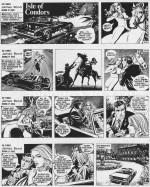 """""""Isle of Condors"""" (strips introductifs - 1972) : une cavalière nue (Thyrza Holt) prétend avoir été emprisonnée et droguée par un couple, les Gallew."""