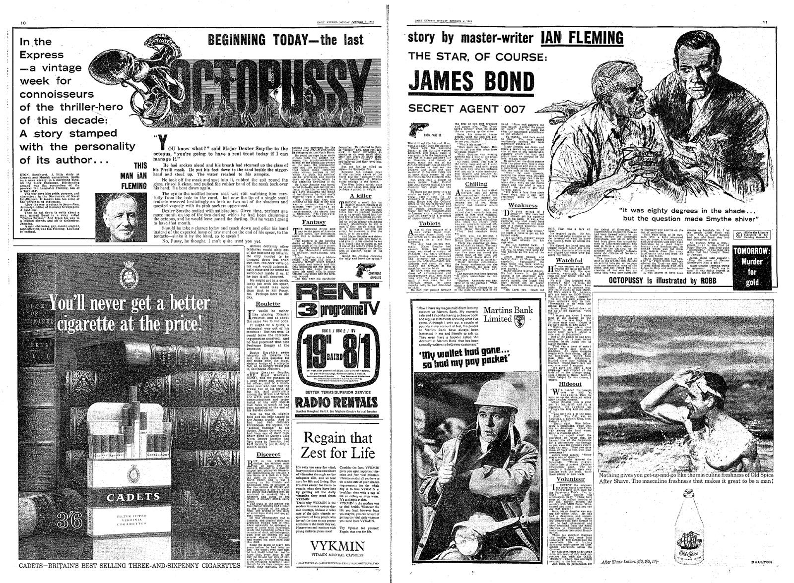 """La nouvelle """"Octopussy"""", publiée dans le Daily Express en octobre 1965 (dessins par Andrew Robb )."""