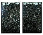 Diptyque « Nuit fleurie » : huile sur toile réalisée par René Moreu, 1992.
