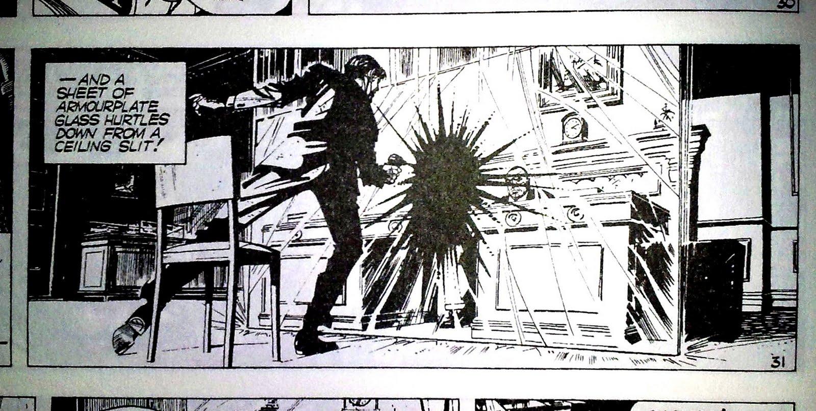 """Lorsque Bond cherche à liquider M avec un pistolet à eau empoisonné au cyanure... (Détail du strip n° 31 de """"L'Homme au pistolet d'or"""" - 1966).)"""