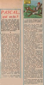 « Pascal, qui es-tu ? » Vaillant n° 637 (28-7-1957).