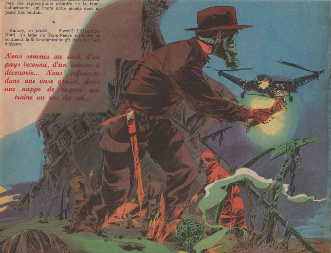 Illustration pour « Et la mer se retira » Vaillant n° 612 (02/02/1957).