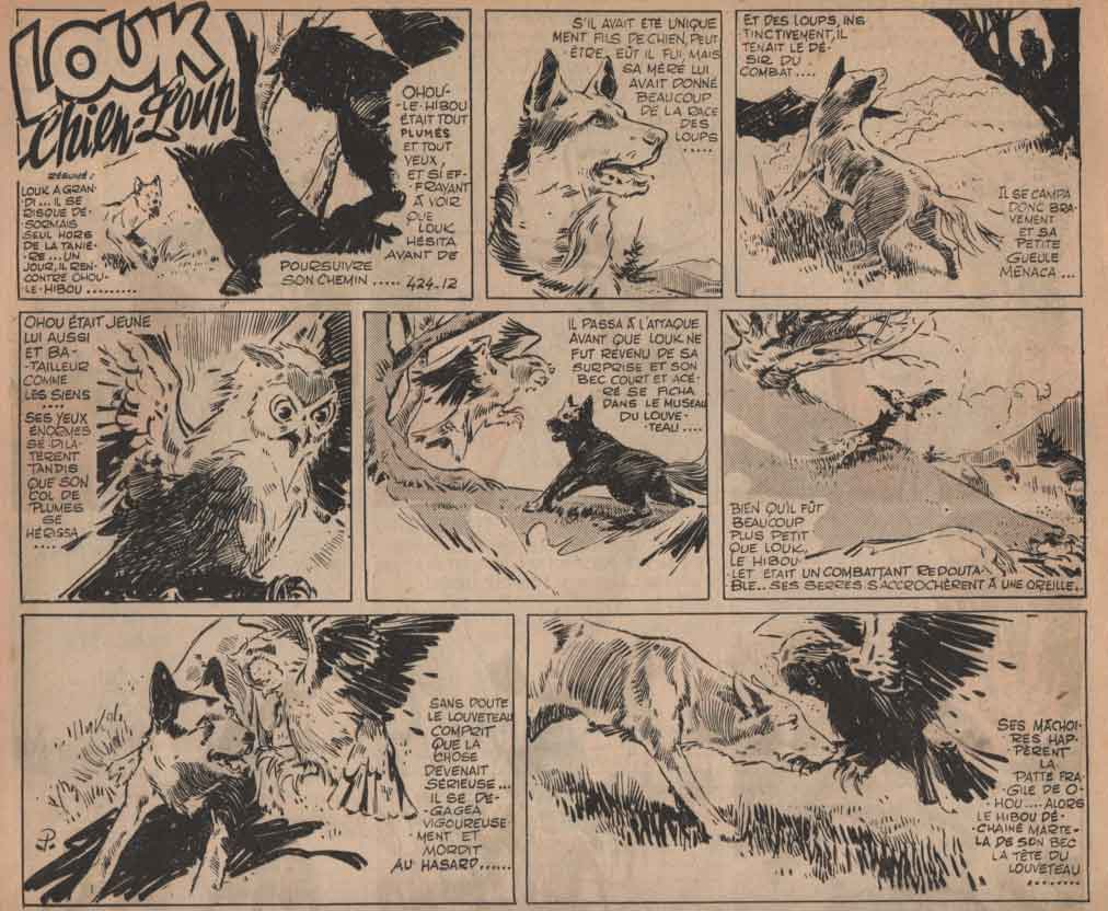 « Louk chien-loup » Vaillant n° 424 (28/06/1953).