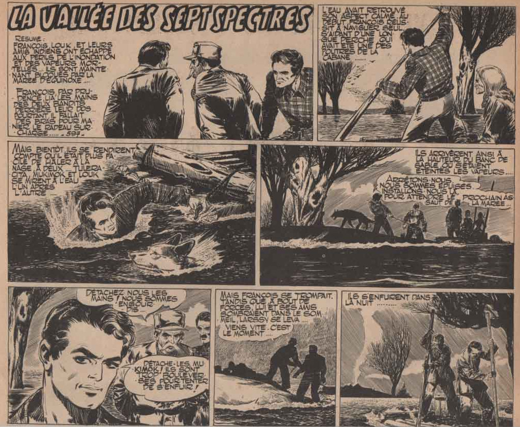 « La Vallée des sept spectres : une aventure de Louk chien-loup » Vaillant n° 595 (21/10/1956).