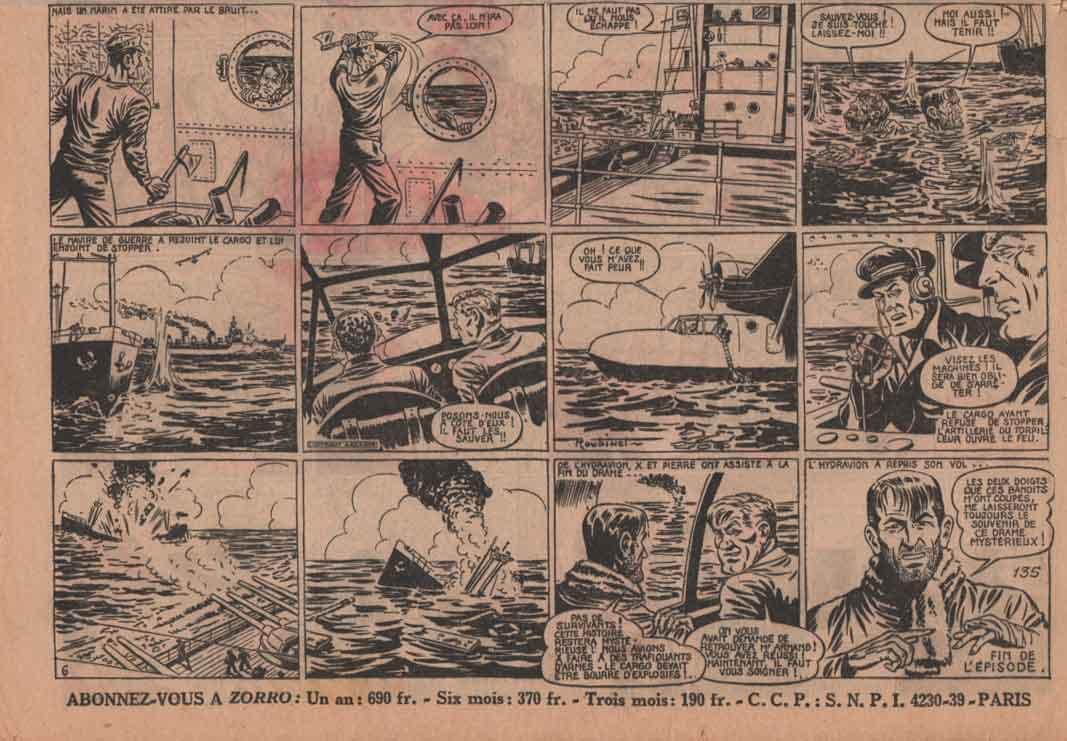 « L'Énigmatique Monsieur X » dans Zorro n° 135 (09/01/1949).