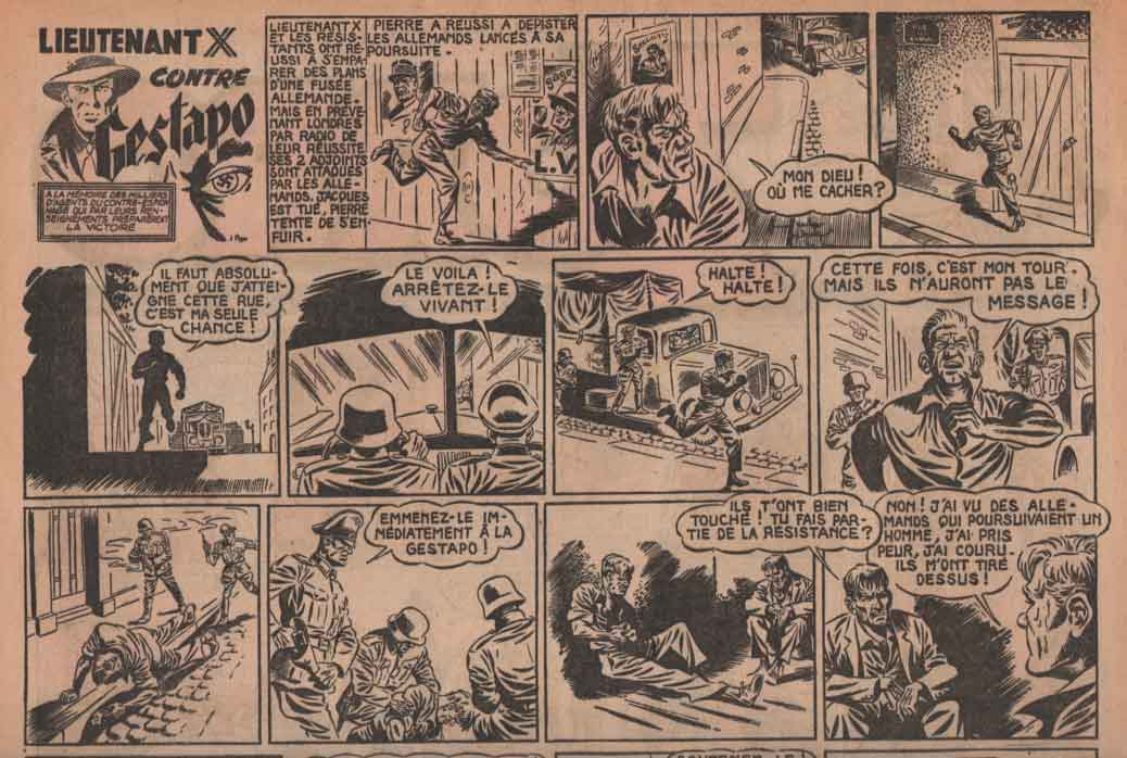 « Lieutenant X contre la Gestapo » dans Zorro n° 125 (4 trimestre 1948).
