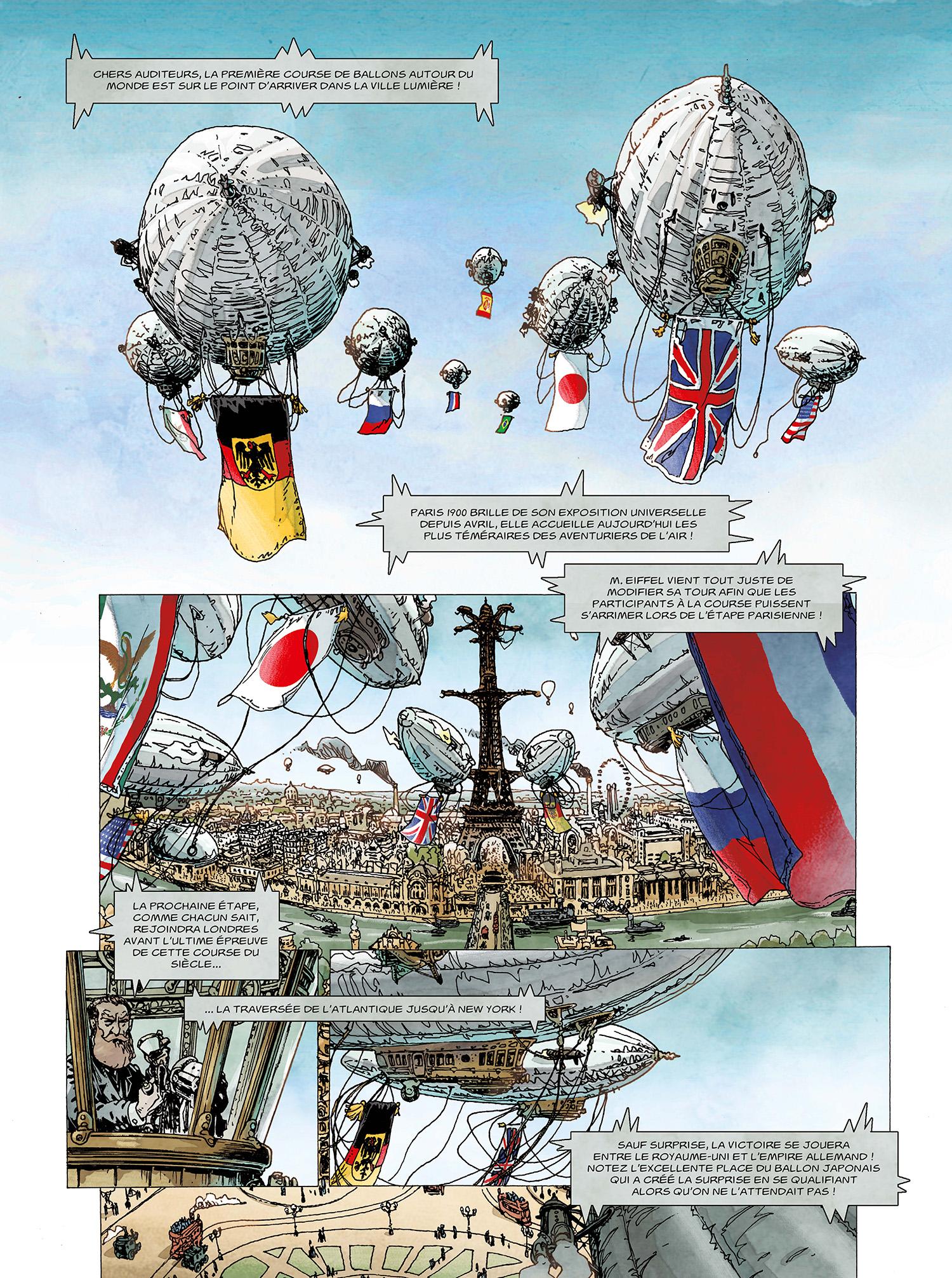 Un Tour du monde (revisité) façon Jules Verne ? (extrait du T3 - planches 1 et 2 ; Delcourt 2020)