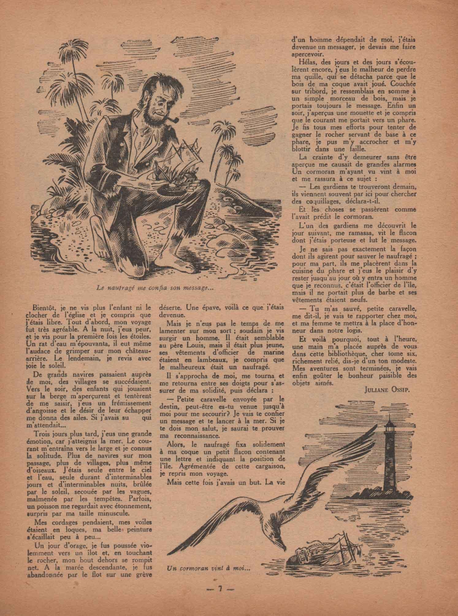 Illustration nouvelle «La Caravelle bleue» Fillette n°84 (19/02/1948).