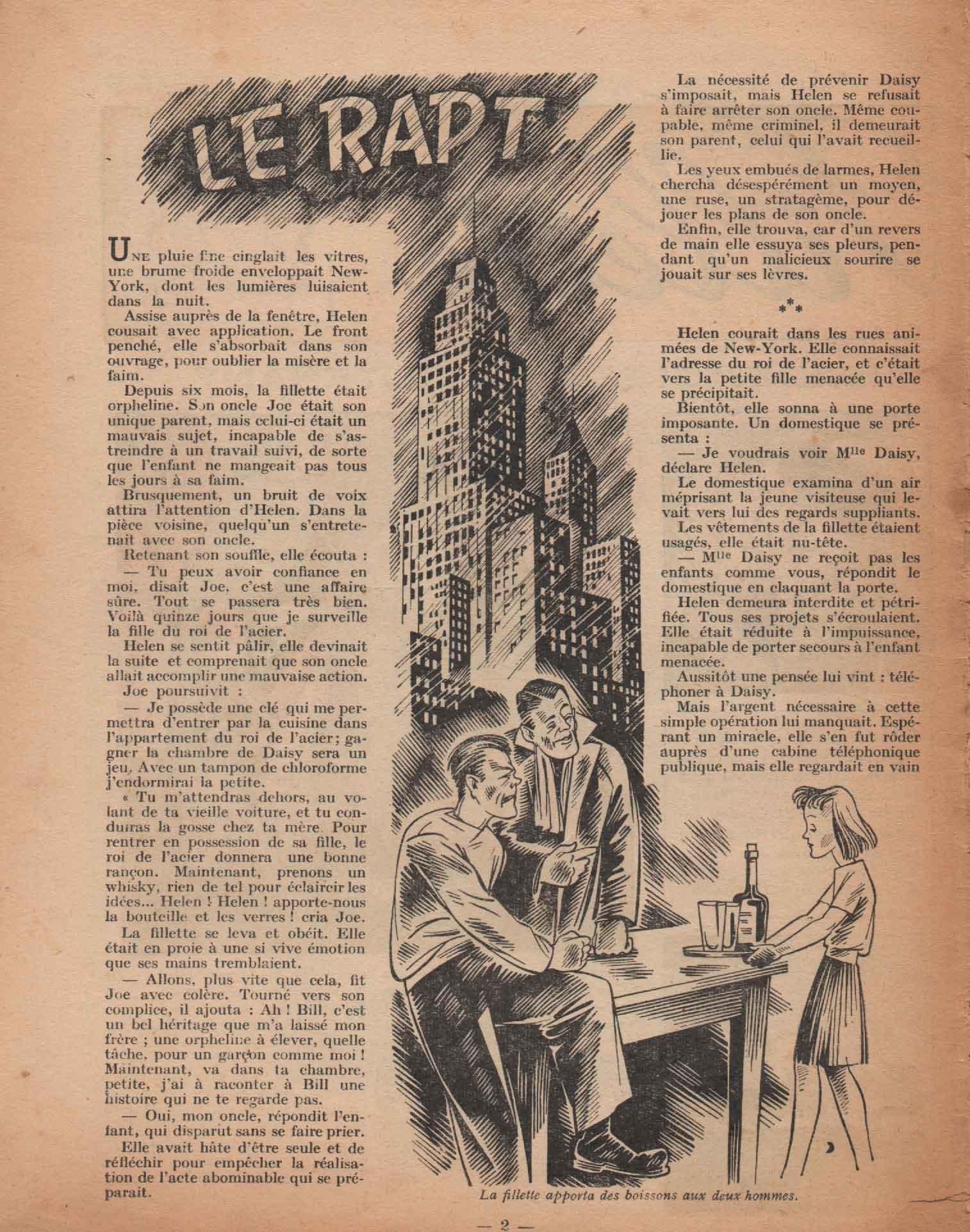 Illustration nouvelle «Le Rapt» Fillette n°86 (04/03/1948).