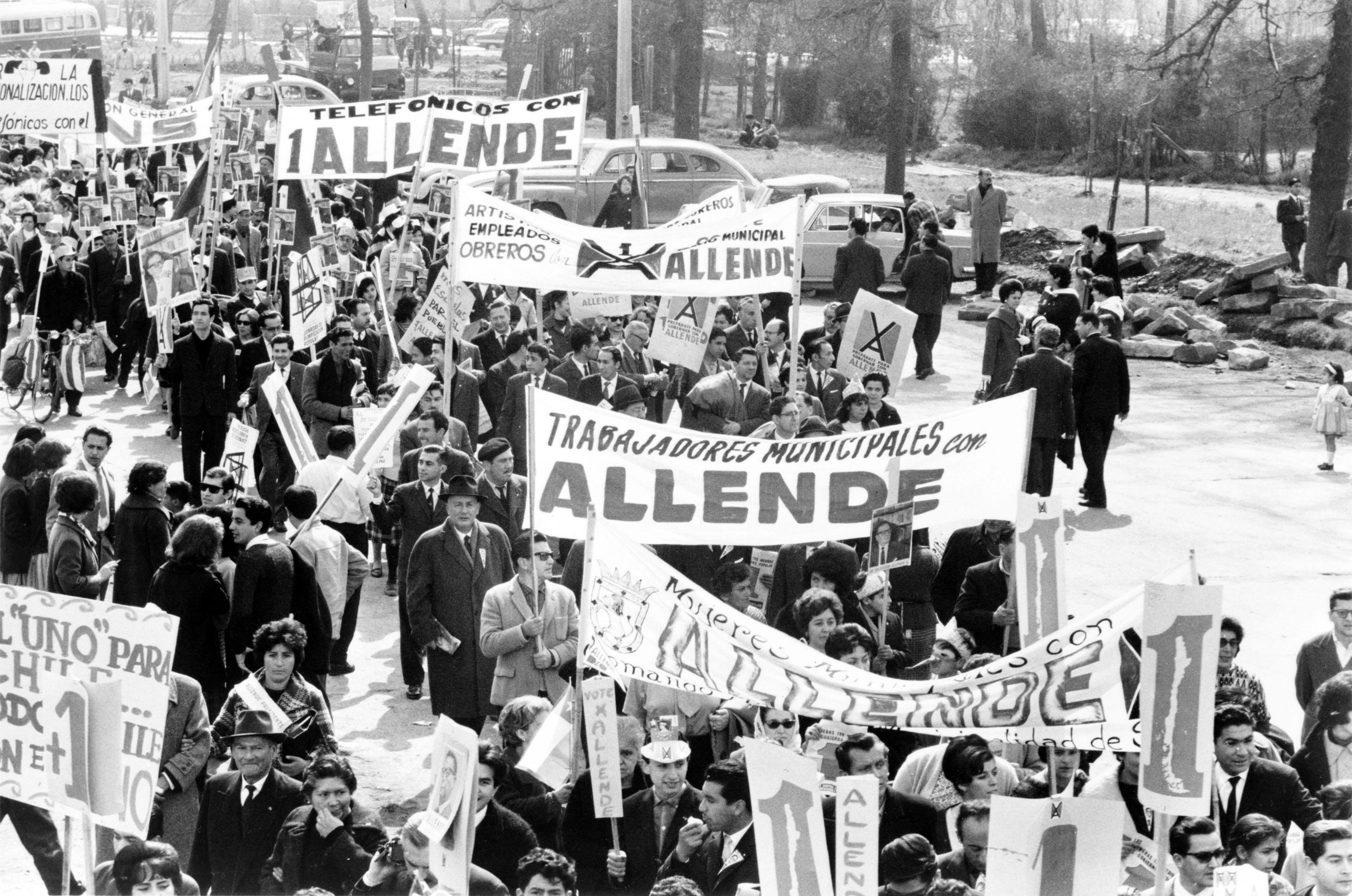 Manifestation de soutien à Allende en 1970.
