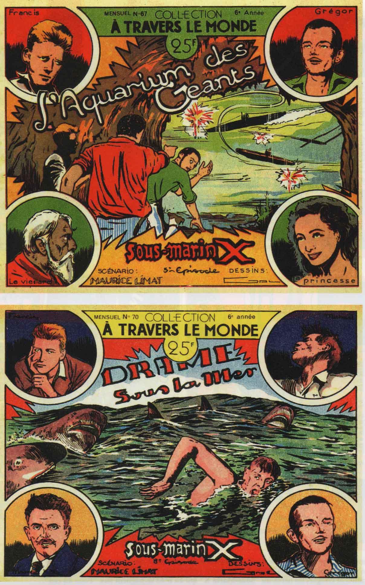 « Sous-marin X » couvertures À Travers le monde n° 67 et 70 (1952).